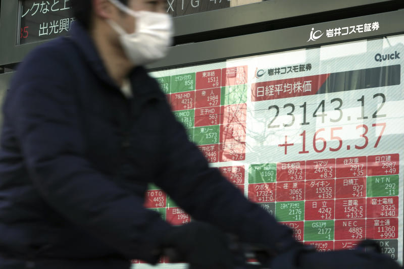 A man rides a bicycle past an electronic stock board showing Japan's Nikkei 225 index at a securities firm in Tokyo Friday, Jan. 31, 2020. Shares are mixed in Asia after the World Health Organization declared the outbreak of a new virus that has spread from China to more than a dozen countries a global emergency. (AP Photo/Eugene Hoshiko)
