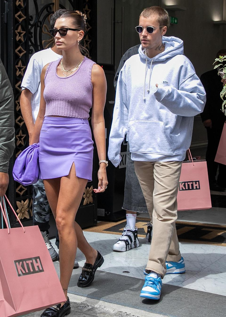 <p>Justin and Hailey Bieber are in sync on June 21 after a stop at the KITH store in Paris.</p>