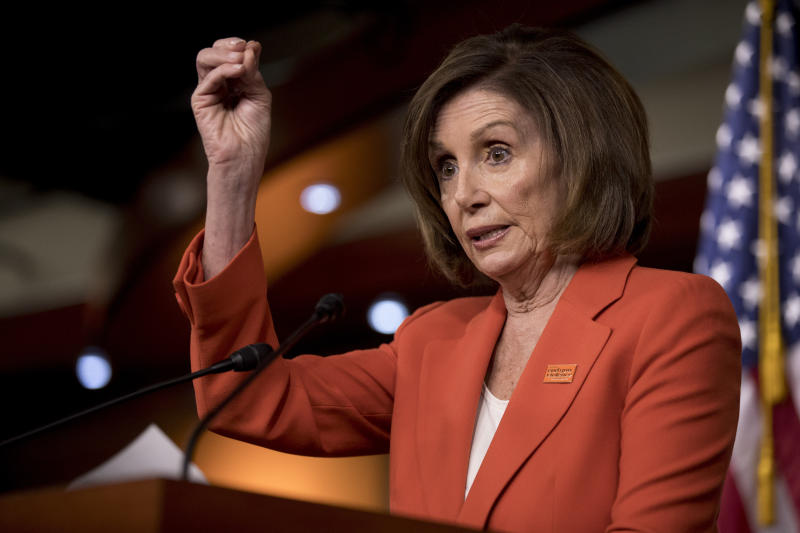 In this June 5, 2019, photo, House Speaker Nancy Pelosi of Calif., speaks to reporters at the Capitol in Washington. The political clock is a significant factor in whether majority House Democrats launch any impeachment proceedings against President Donald Trump. There's increasing pressure on Pelosi to at least start an impeachment inquiry into whether Trump obstructed special counsel Robert Mueller's investigation. (AP Photo/Andrew Harnik)