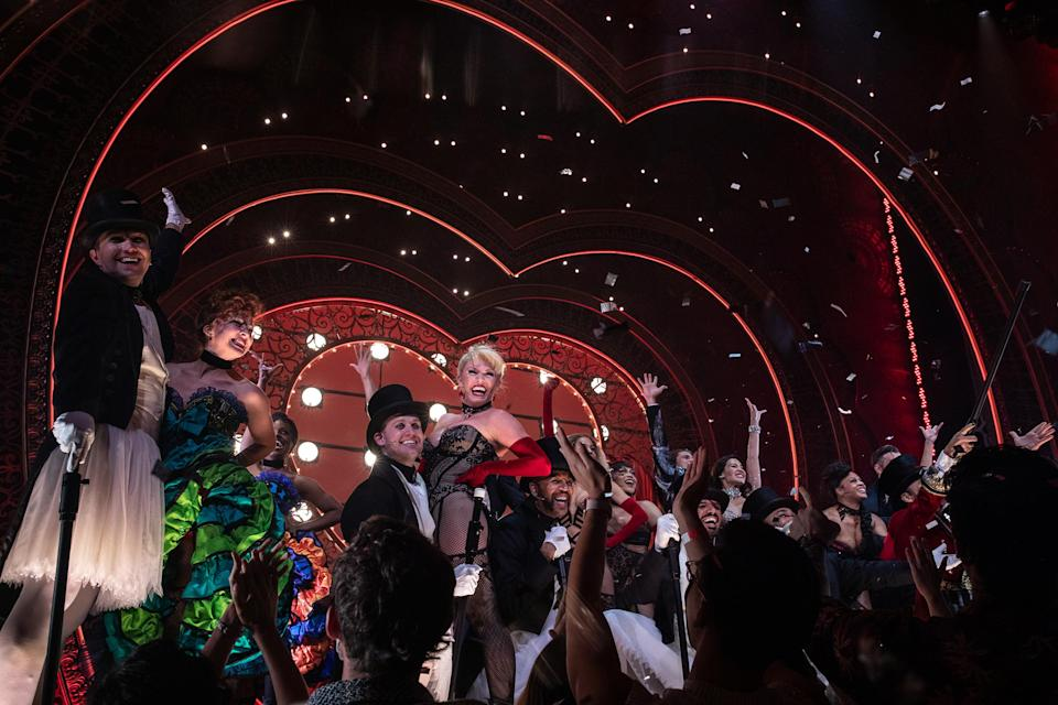 The cast after giving their final bows at dress rehearsal for Moulin Rouge! The Musical on Sept. 23, 2021. 200 frontline workers along with friends and family of the cast and crew were invited to the dress rehearsal for the show.