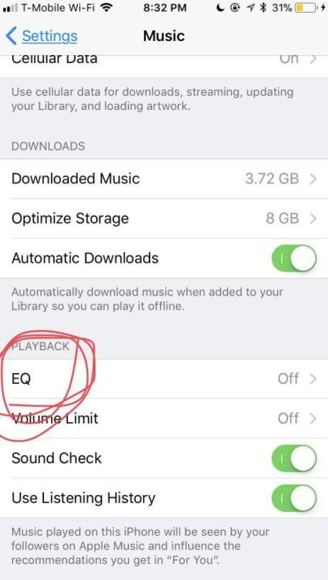 Then scroll down to 'Playback' and press 'EQ'. Photo: Twitter