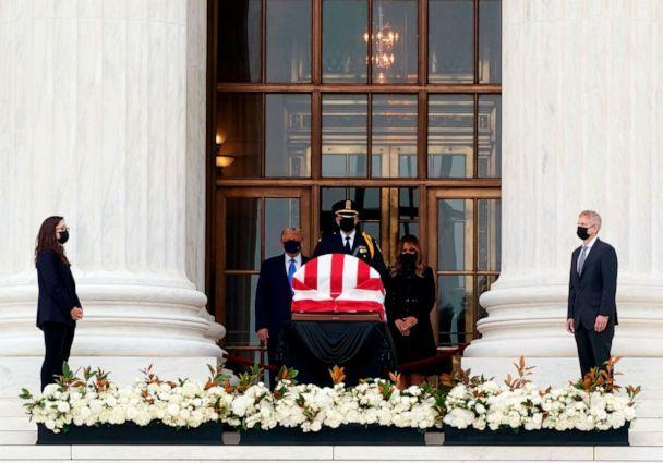 PHOTO: President Donald Trump and first lady Melania Trump pay their respects to Supreme Court Justice Ruth Bader Ginsburg as she lies in repose in front of the Supreme Court in Washington, D.C, on Sept. 24, 2020. (Alex Edelman/AFP via Getty Images)