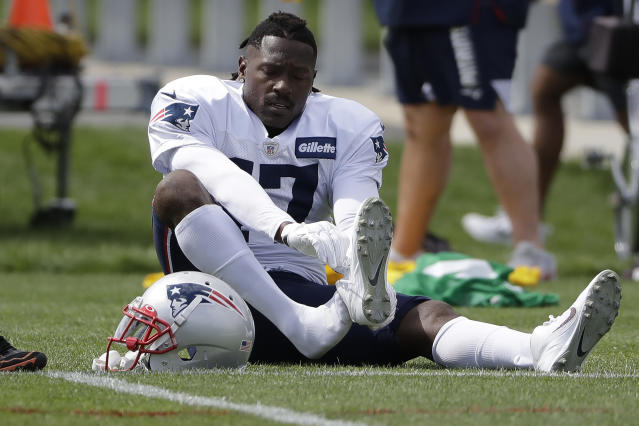Patriots receiver Antonio Brown didn't have much to say on Thursday. (AP)