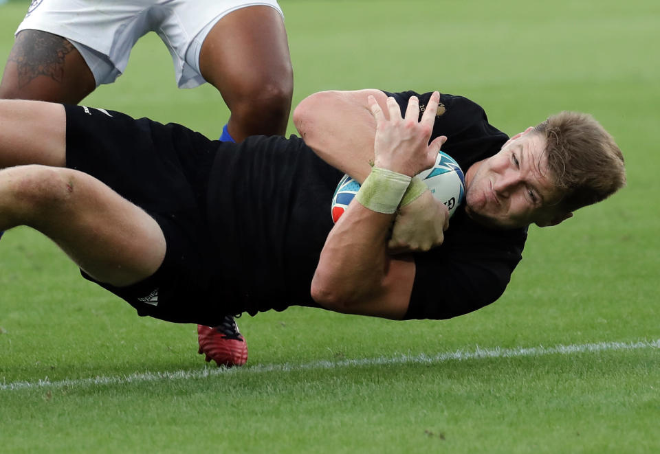 New Zealand's Jordie Barrett scores a try during the Rugby World Cup Pool B game at Tokyo Stadium between New Zealand and Namibia in Tokyo, Japan, Sunday, Oct. 6, 2019. (AP Photo/Christophe Ena)