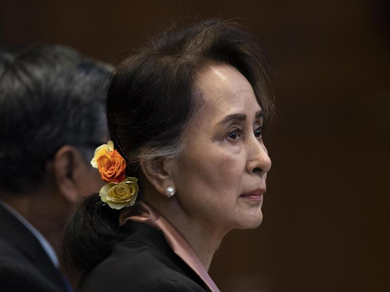 Aung San Suu Kyi appears in the International Court of Justice for the first day of three days of hearings in The Hague: AP