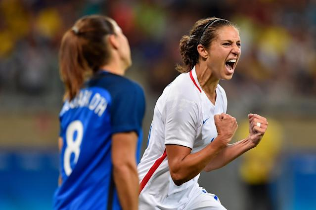 <p>Carli Lloyd of United States celebrates after scoring during the Women's Group G first round match between United States and France during Day 1 of the Rio 2016 Olympic Games at Mineirao Stadium on August 6, 2016 in Belo Horizonte, Brazil. (Photo by Pedro Vilela/Getty Images) </p>