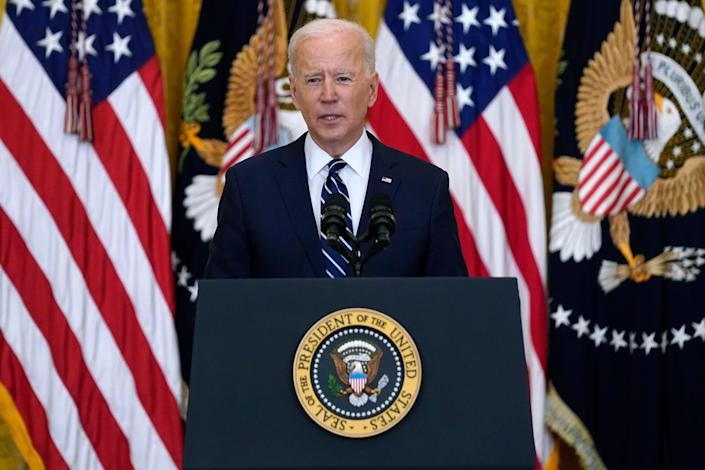 President Joe Biden speaks during a news conference in the East Room of the White House, Thursday, March 25, 2021 (AP)