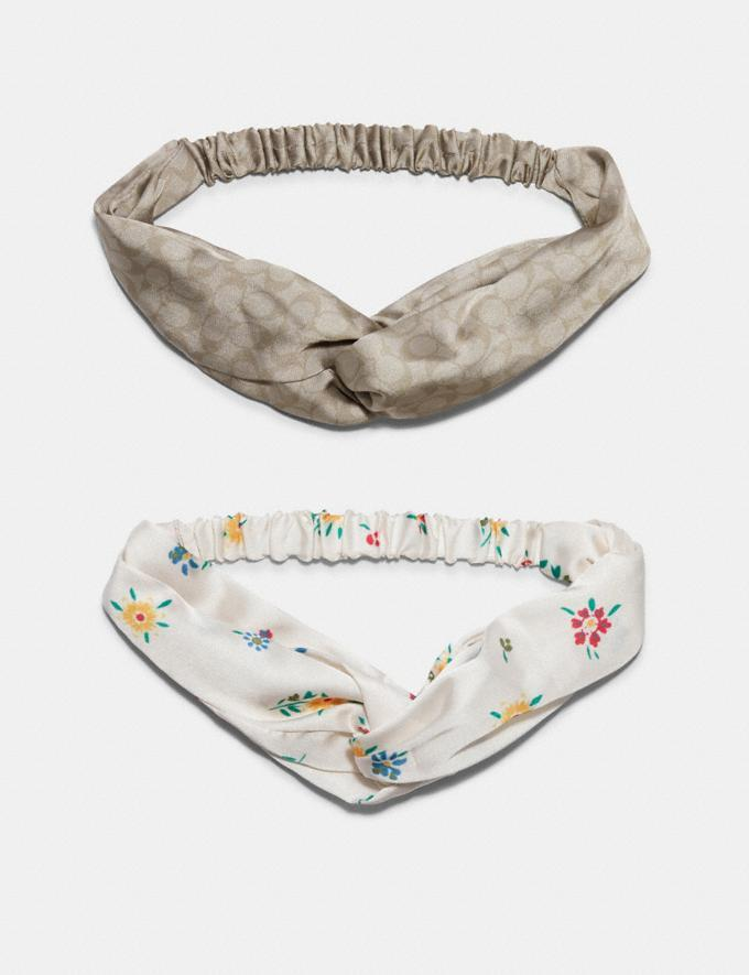 Signature And Spaced Wild Meadow Print Headbands Set - Coach Outlet