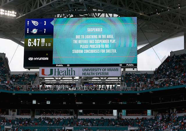 Lightning forced a pair of delays in Sunday's bizarre Dolphins-Titans game that turned out to be the longest game in NFL history. (Getty)