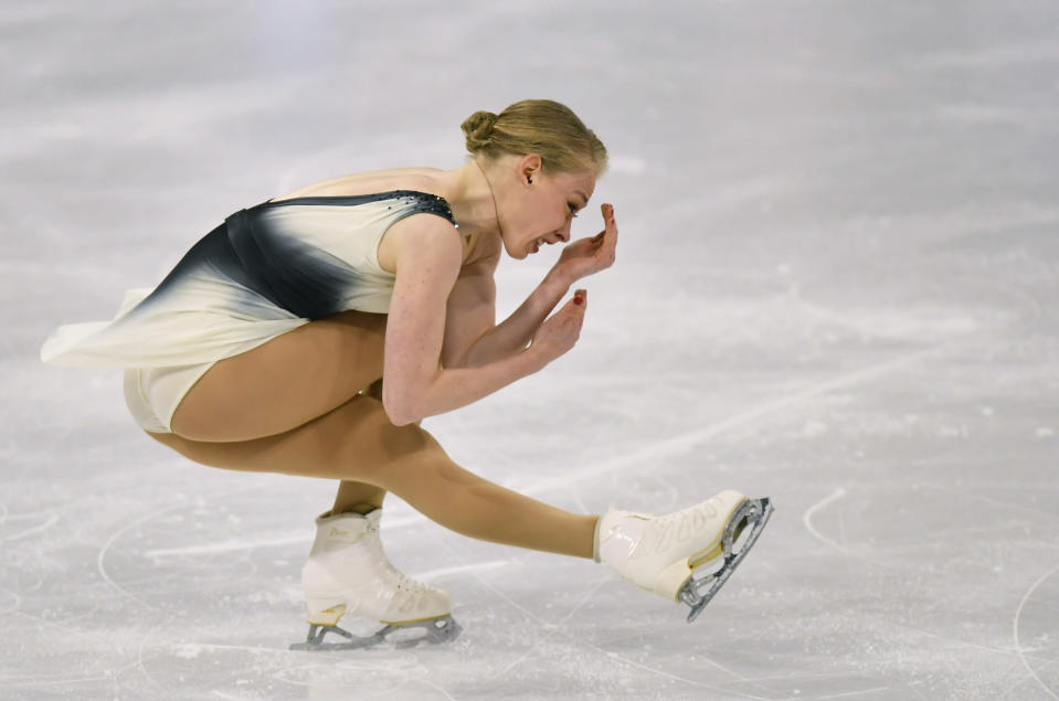Bradie Tennell of the USA performs during the Ladies Free Skating at the Figure Skating World Championships in Stockholm, Sweden, Friday, March 26, 2021. (AP Photo/Martin Meissner)
