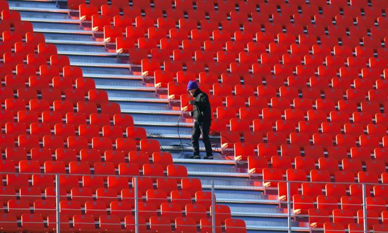 Preparations being made for February's opening ceremony at the Pyeongchang Olympic Stadium, the centrepiece of the Winter Games