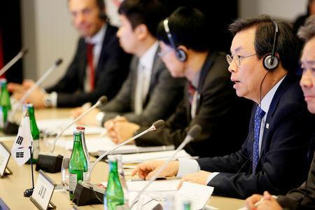 FILE PHOTO: Jong-Hwan Do, Minister of Culture, Sports and Tourism of the Republic of Korea (ROK) speaks during a meeting with International Olympic Committee (IOC) President Thomas Bach, the NOC of the Democratic People's Republic of Korea (DPRK) and a delegation from the PyeongChang 2018 Organising Committee (POCOG) at the IOC headquarters in Lausanne, Switzerland, January 20, 2018. REUTERS/Pierre Albouy