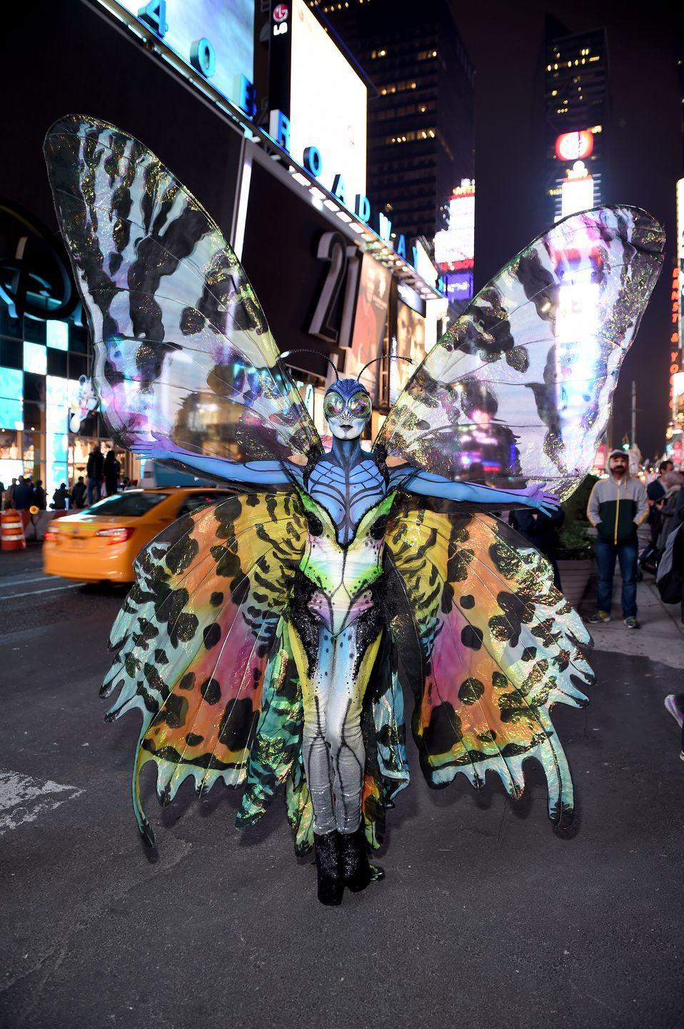 <p>Forget your typical bin liner to create a make-shift witch's cape. </p><p>In 2014, Heidi spent a whopping five hours in the make-up chair to be turned into a butterfly. </p>