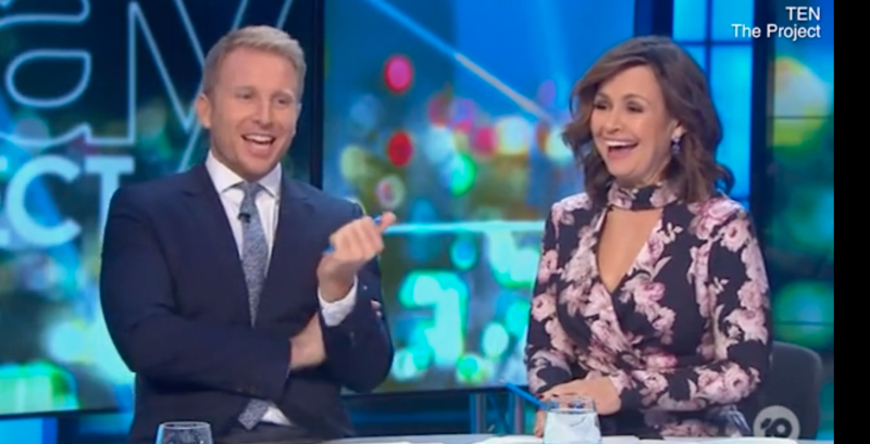 Hamish McDonald and Lisa Wilkinson laugh on The Project desk