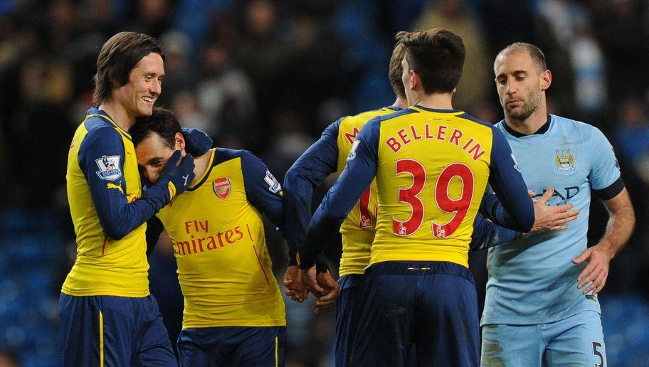 <p>A fantastic away performance by Arsenal ended City's 12-match unbeaten run to boost their own top four hopes back in 2015.</p> <p><br /> Santi Cazorla's first-half penalty gave an unusually defensive Arsenal a deserved lead at half-time.</p> <p><br /> As City applied pressure in the second-half, Arsenal wrapped up the points when Olivier Giroud headed past Joe Hart in the 67th minute.</p>