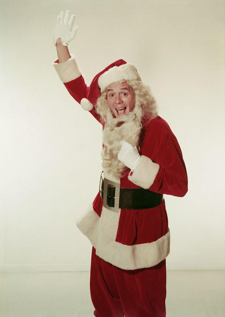 <p>The <em>I Love Lucy </em>star got into the holiday spirit by dressing like Santa in 1955. The Cuban musician and actor even gave the camera a wave, revealing his true identity to fans. </p>