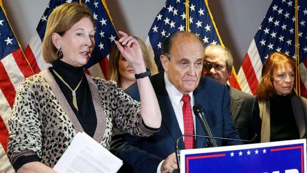 PHOTO: Attorneys Sidney Powell and Rudy Giuliani hold a press conference at the Republican National Committee headquarters in Washington, Nov. 19, 2020. (Jonathan Ernst/Reuters, FILE)