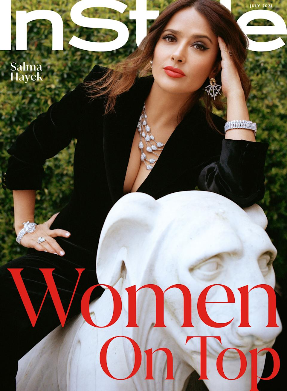 Salma Hayek appears on the latest cover of InStyle (on stands July 11) to discuss aging in Hollywood. (Photo: InStyle)