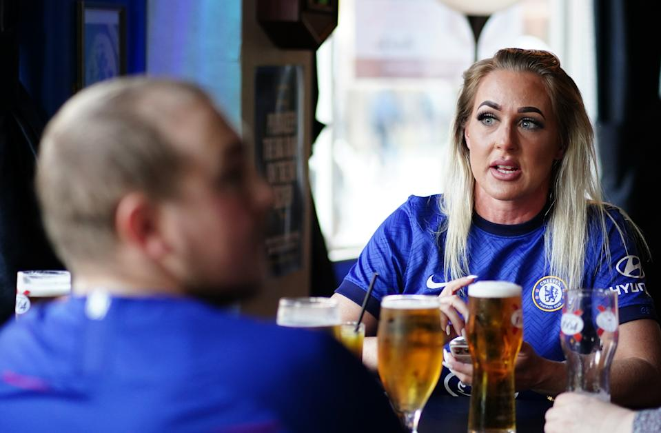 Chelsea fans in The Chelsea Pensioner Pub before the Premier League match between Chelsea and Leicester City at Stamford Bridge, London. Picture date: Tuesday May 18, 2021. (Photo by John Walton/PA Images via Getty Images)