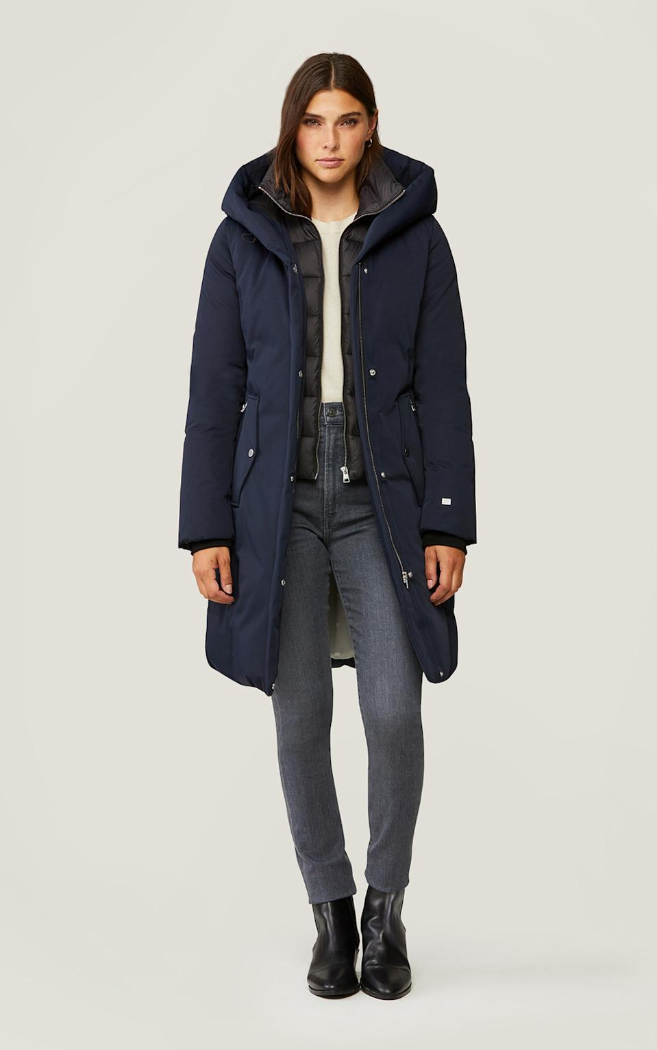MALENE slim fit classic down coat with hood - SOIYA & KYO, $357 (originally $595)