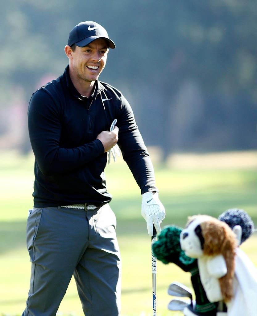Rory McIlroy practises ahead of the World Golf Championships Mexico Championship (AFP Photo/JAMIE SQUIRE)