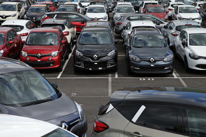 Renault cars parked in the manufacturer's lot. Photo: REUTERS/Benoit Tessier