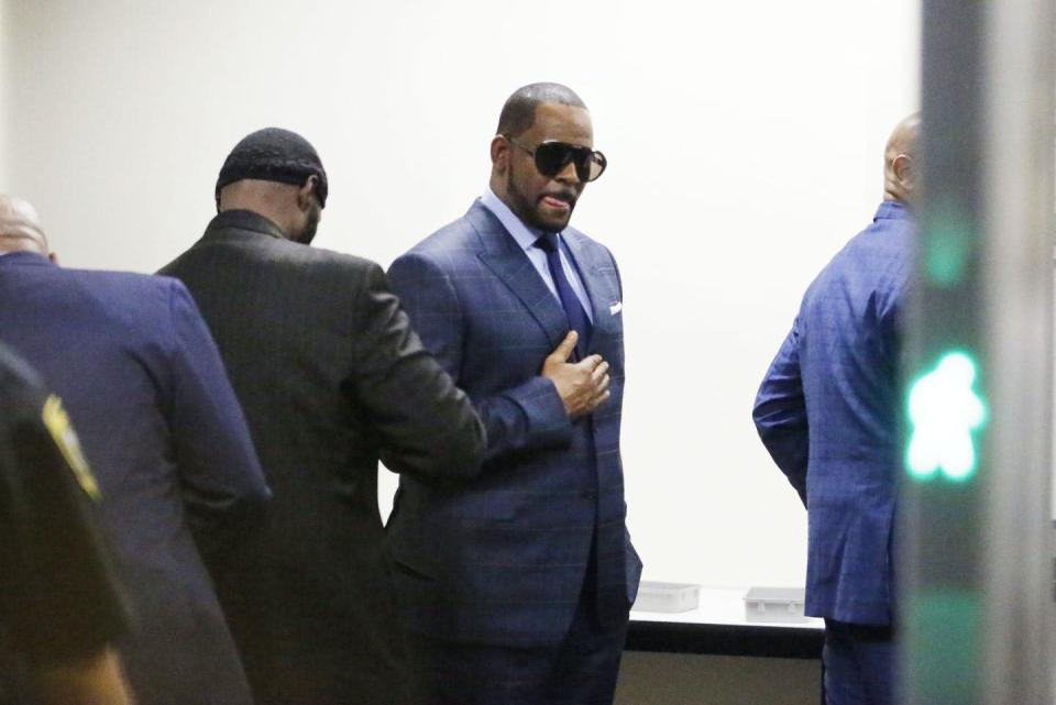 """<span class=""""caption"""">A lengthy spell in prison awaits the convicted sexual predator.</span> <span class=""""attribution""""><a class=""""link rapid-noclick-resp"""" href=""""https://www.gettyimages.com/detail/news-photo/singer-r-kelly-goes-through-security-as-he-arrives-at-the-news-photo/1128860813?adppopup=true"""" rel=""""nofollow noopener"""" target=""""_blank"""" data-ylk=""""slk:Nuccio DiNuzzo/Getty Images via AFP"""">Nuccio DiNuzzo/Getty Images via AFP</a></span>"""