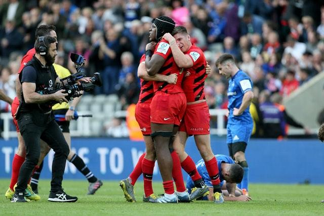 Saracens Maro Itoje and Owen Farrell celebrate on the final whistle of the Champions Cup final