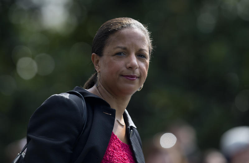 """FILE - In this July 7, 2016 file photo, then-National Security Adviser Susan Rice is seen on the South Lawn of the White House in Washington. Rice  says it's """"absolutely false"""" that the previous administration used intelligence about President Donald Trump's associates for political purposes. (AP Photo/Carolyn Kaster, File)"""
