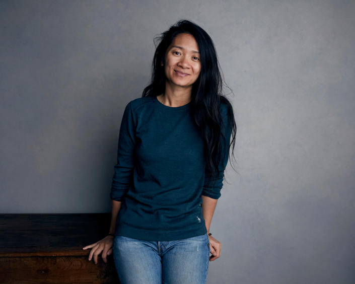 """FILE - Chloe Zhao poses for a portrait during the Sundance Film Festival in Park City, Utah on Jan. 22, 2018. Zhao accepted the award for best director for a motion picture for """"Nomadland"""" at the Golden Globe Awards on Sunday, Feb. 28, 2021. (Photo by Taylor Jewell/Invision/AP, File)"""