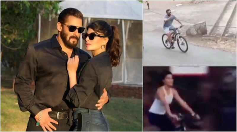 Salman Khan and Jacqueline Fernandez  Spotted Enjoying a Bicycle Ride in Panvel (Watch Videos)