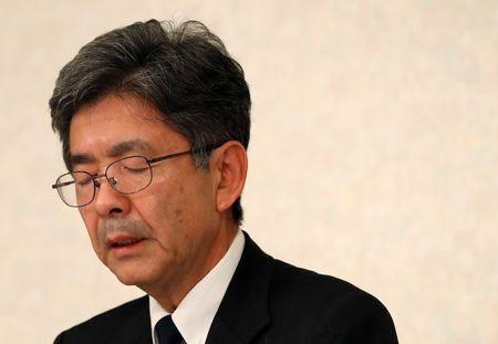 Kobe Steel Executive Vice President Naoto Umehara attends a news conference in Tokyo, Japan October 20, 2017. REUTERS/Issei Kato
