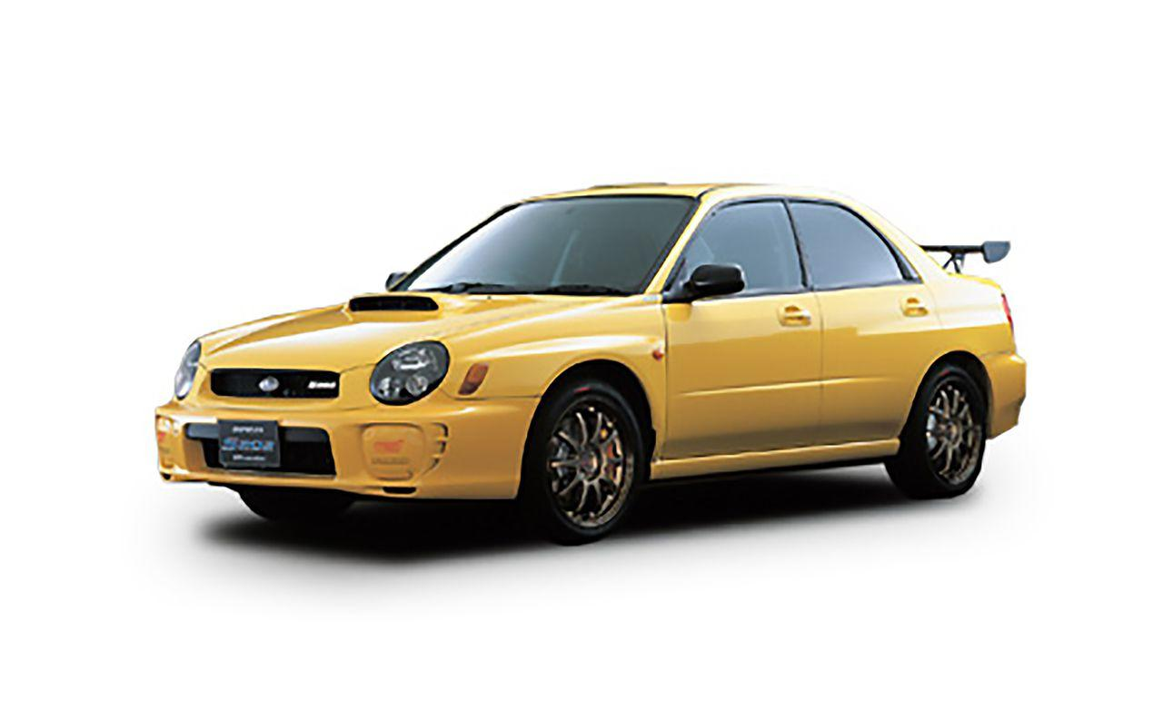 <p>The S202 is based on the Impreza-based type RA Spec C that STI builds for competition. Its EJ20 engine breathes through a titanium muffler (a more than 10-pound weight reduction) and is controlled by a new ECU tuned to make the 6400-rpm, 316-hp power peak feel as broad and useable as possible. Like its bug-eyed WRX contemporaries, the S202 begs to be revved, and you really have to thrash its engine in order to make the most of its moderate torque output. An adjustable carbon-fiber wing and six-speed manual are new to the S202, while the ball-jointed rear-suspension design carries over from the S201. Production was limited to 400 vehicles. </p>
