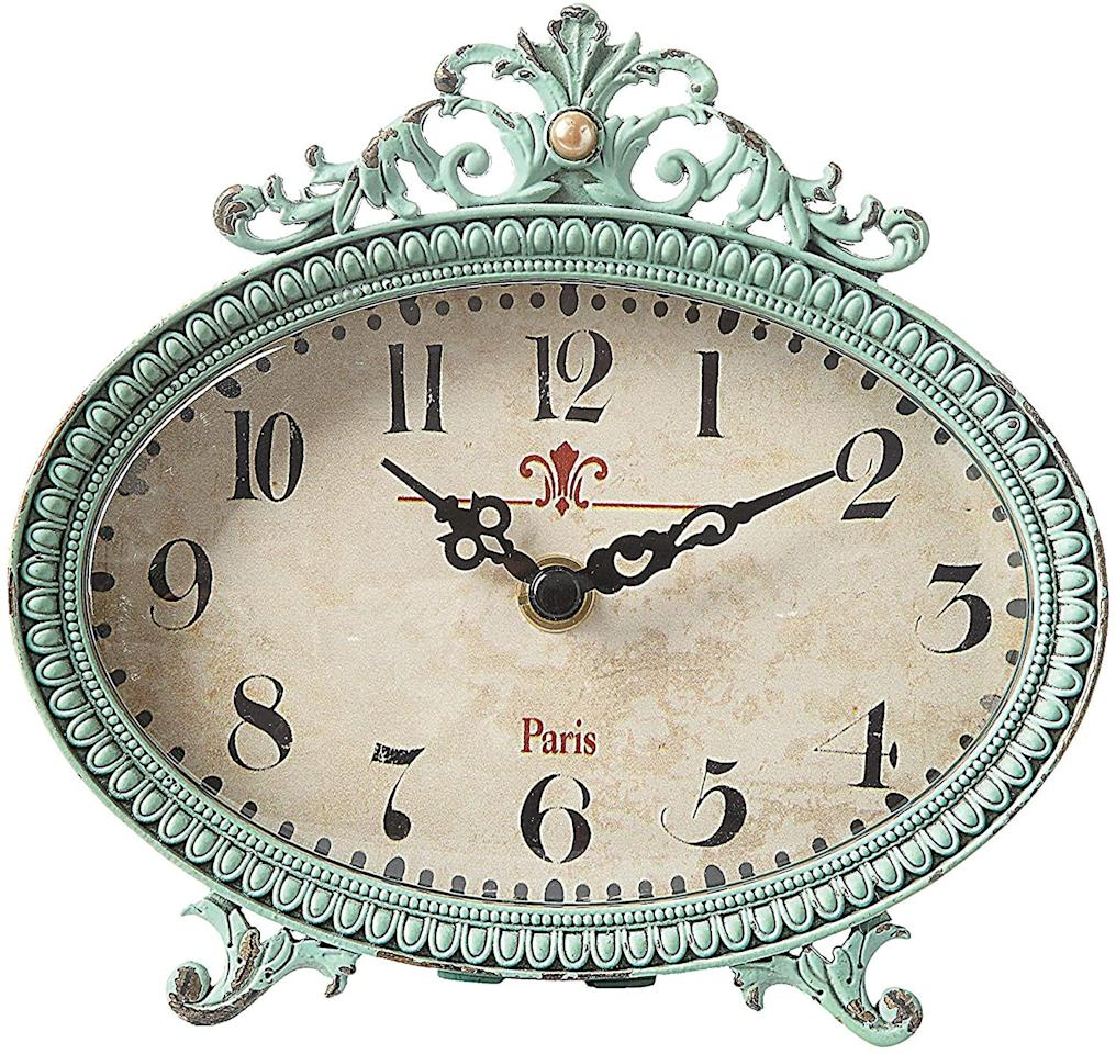 """<p>This <a href=""""https://www.popsugar.com/buy/Creative-Co-Op-Shabby-Pewter-Table-Clock-585469?p_name=Creative%20Co-Op%20Shabby%20Pewter%20Table%20Clock&retailer=amazon.com&pid=585469&price=25&evar1=casa%3Aus&evar9=46805816&evar98=https%3A%2F%2Fwww.popsugar.com%2Fphoto-gallery%2F46805816%2Fimage%2F46805822%2FPerfectly-Old-School-Clock&list1=shopping%2Camazon%2Cdecor%20inspiration%2Cshopping%20guide&prop13=api&pdata=1"""" rel=""""nofollow"""" data-shoppable-link=""""1"""" target=""""_blank"""" class=""""ga-track"""" data-ga-category=""""Related"""" data-ga-label=""""https://www.amazon.com/Creative-Co-op-DA0797-Antiqued-Pewter/dp/B00EDJ3FBK/ref=sr_1_2?dchild=1&amp;keywords=pewter+table+clock&amp;qid=1593447781&amp;refinements=p_85%3A2470955011&amp;rnid=2470954011&amp;rps=1&amp;sr=8-2"""" data-ga-action=""""In-Line Links"""">Creative Co-Op Shabby Pewter Table Clock</a> ($25) is such an easy way to add some shabby-chic decor to your space. You could even bring it to your desk at work!</p>"""
