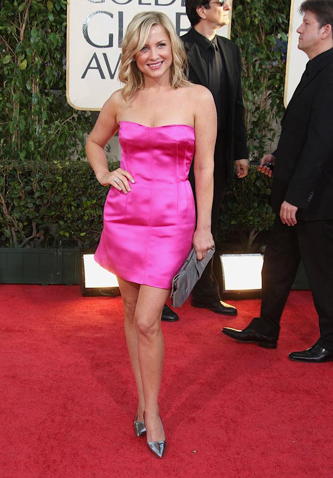 "Jessica Capshaw was cute as a button in a tiny, bubblegum pink dress. Frazer Harrison/<a href=""http://www.gettyimages.com/"" target=""new"">GettyImages.com</a> - January 11, 2009"