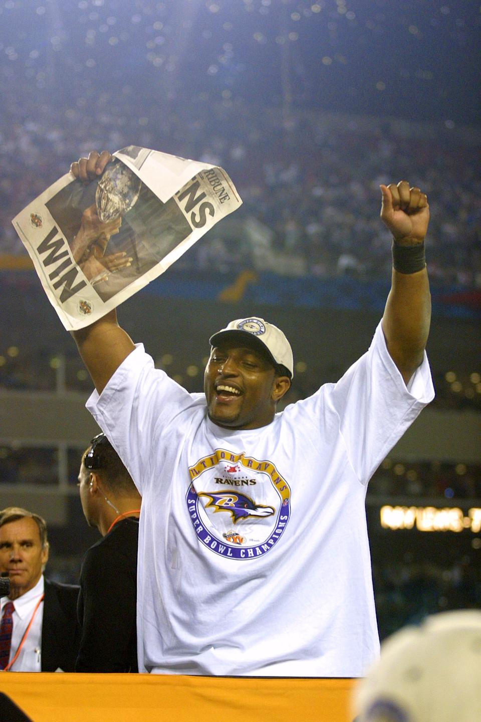 Ray Lewis during Super Bowl XXXV - Postgame at Raymond James Stadium in Tampa, Florida, United States. (Photo by KMazur/WireImage)