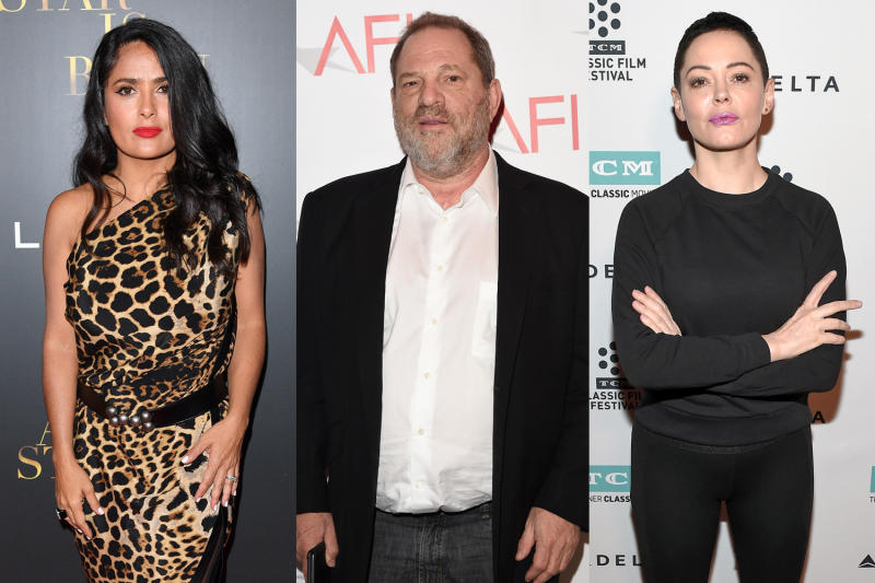 Salma Hayek, left, and Rose McGowan, right, are two of the women who've accused Harvey Weinstein of sexual misconduct. (Photo: Getty Images)