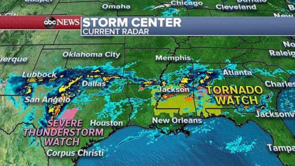 PHOTO: There is a tornado watch from Louisiana to the Florida panhandle Wednesday morning. There is also severe thunderstorm watch in central Texas where winds could be greater than 60 mph. (ABC News)