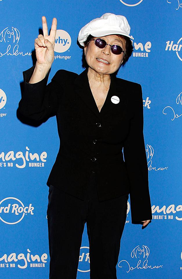 """Her late husband, John Lennon, will forever be linked with his song """"Give Peace a Chance"""" (among many other things) and Yoko Ono promoted the message as well when she attended the 5th annual Imagine There's No Hunger Campaign launch at Times Square's Hard Rock Cafe on Monday. (11/19/2012)"""