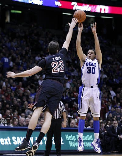 Duke guard Seth Curry (30) takes a shot over Temple forward Jake O'Brien (22) during the second half of an NCAA college basketball game in in East Rutherford, N.J., Saturday, Dec. 8, 2012. Curry had 23 points in Duke's 90-67 win. (AP Photo/Mel Evans)