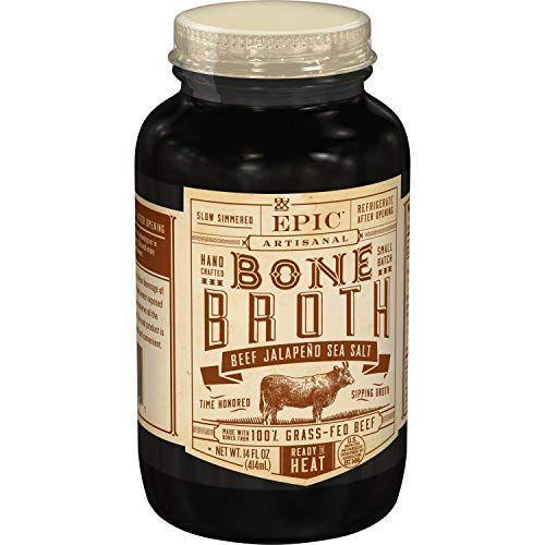 "<p><strong>Epic Provisions</strong></p><p>amazon.com</p><p><strong>$38.88</strong></p><p><a href=""https://www.amazon.com/dp/B01M0PRKFO?tag=syn-yahoo-20&ascsubtag=%5Bartid%7C2140.g.34373147%5Bsrc%7Cyahoo-us"" rel=""nofollow noopener"" target=""_blank"" data-ylk=""slk:Shop Now"" class=""link rapid-noclick-resp"">Shop Now</a></p><p>Most bone broths come frozen or in huge containers—tough to take on the go! But EPIC Provisions comes in cute, 14-ounce jars. We like the beef jalapeño sea salt for a kicked-up afternoon boost.</p>"