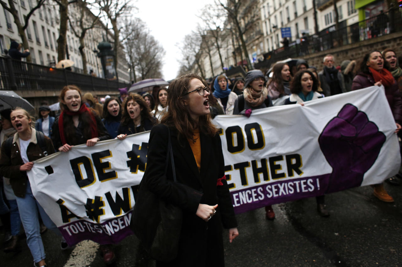 <p>Women march during a demonstration called by feminist associations to mark International Women's Day, in Paris on March 8, 2018. Statistics show that at the same age and equivalent job, there is a 9 percent gap between the wages of men and women in France.<br /> (Photo: Thibault Camus/AP) </p>