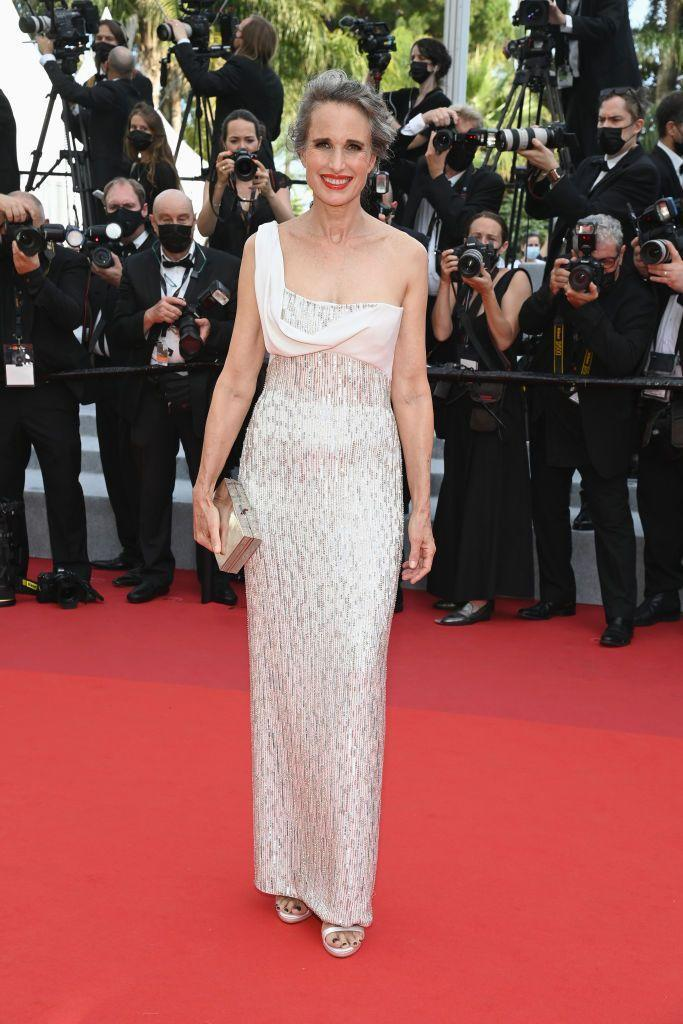 <p>MacDowell wore a white and silver Atelier Versace gown. </p>