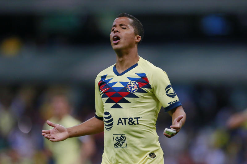 MEXICO CITY, MEXICO - FEBRUARY 26: Giovani Dos Santos of America reacts during the round of 16 match between America and Comunicaciones as part of the CONCACAF Champions League 2020 at Azteca Stadium on February 26, 2020 in Mexico City, Mexico. (Photo by Mauricio Salas/Jam Media/Getty Images)