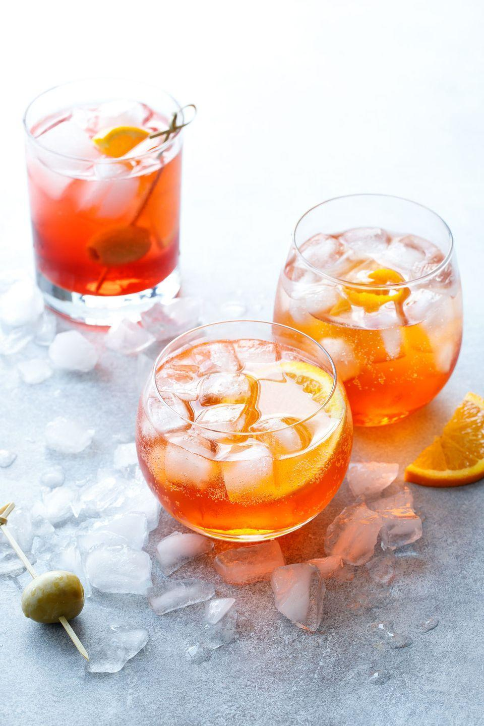 """<p>Among the coolest drinks to order this summer? Try the Aperol spritz, a bittersweet Italian favorite that's quickly becoming a classic stateside. </p><p>Get the recipe at <a href=""""https://www.loveandoliveoil.com/2018/07/classic-italian-spritz.html"""" rel=""""nofollow noopener"""" target=""""_blank"""" data-ylk=""""slk:Love & Olive Oil"""" class=""""link rapid-noclick-resp"""">Love & Olive Oil</a>. </p>"""
