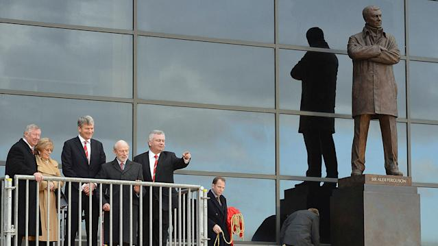 Eamonn Holmes attends the unveiling of a statue of Alex Ferguson at Old Trafford