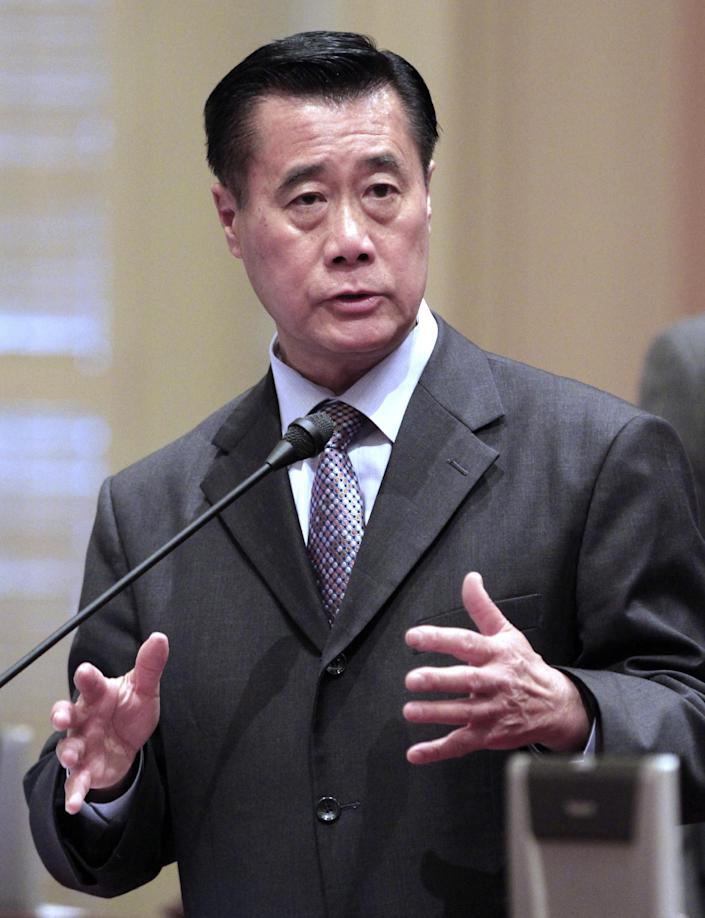 FILE - In this May 25, 2012 file, State Sen. Leland Yee, D-San Francisco, speaks at the Capitol in Sacramento, Calif. Yee was arrested Wednesday, March 26, 2014, during a series of raids in the San Francisco Bay Area. FBI spokesman Peter Lee declined to discuss the charges, citing an ongoing investigation. (AP Photo/Rich Pedroncelli, File)