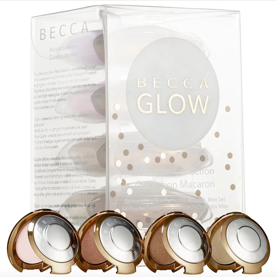 "<p>Your glow game just got way easier thanks to this clutch set from Becca, which includes four adorable minis of its <a rel=""nofollow"" href=""https://www.allure.com/gallery/becca-highlighter-champagne-pop-makeup-looks?mbid=synd_yahoo_rss"">best-selling pressed powder highlighter</a>. Keep one at home, one at your desk, and one in your bag for touch-ups should you want to amp your dew factor throughout the day.</p> <p>$40 (<a rel=""nofollow"" href=""https://shoplinks.co/1656065715543639439"" rel=""nofollow"">Shop Now</a>)</p>"