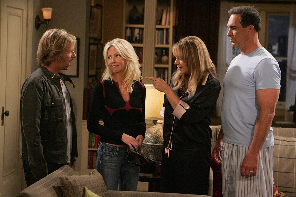 "LOS ANGELES - SEPTEMBER 11: ""Audrey's Sister"" -- Audrey's (Megyn Price, right of center) sister Barbara (Heather Locklear, left of center) comes to visit her and Jeff (Patrick Warburton, far right) and surprises everyone when she accepts a date with Russell (David Spade, far left), on RULES OF ENGAGEMENT, October 1st (9:30-10:00 PM, ET/PT) on the CBS Television Network.  (Photo by Monty Brinton/CBS via Getty Images)"