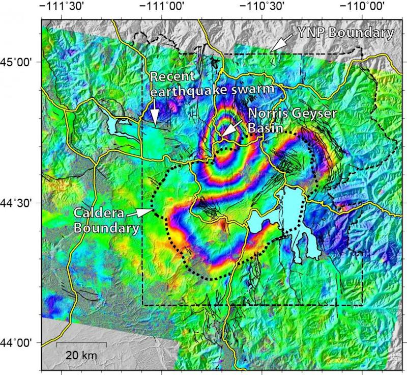 Map Shows Ground Movement At Yellowstone Supervolcano